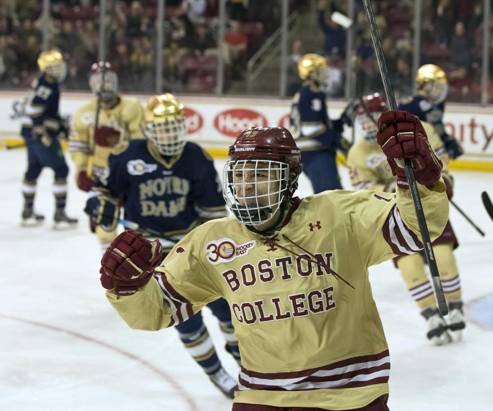 Johnny Gaudreau scored against the Fighting Irish in the Hockey East tournament, but Notre Dame prevailed in the best of three series.